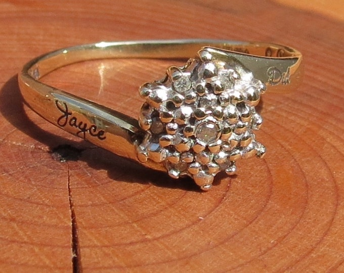 A vintage 9k yellow diamond star cluster ring, engraved shank