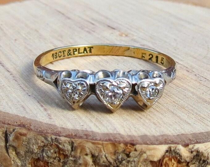 Art Deco 18k yellow gold platinum & diamond heart trilogy ring