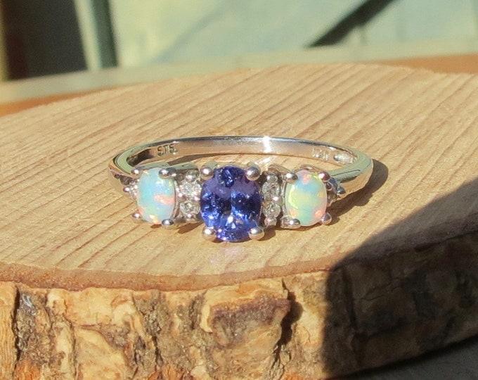 10K white gold tanzanite, diamond and opal ring