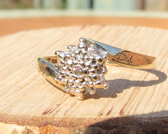 Gold diamond ring. A vintage 9k yellow diamond star cluster ring, engraved shank with 'Joyce did'