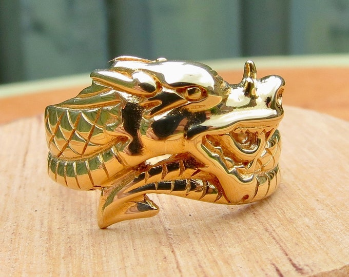 Gold Dragon Ring, Band, Big wide 9K yellow gold.