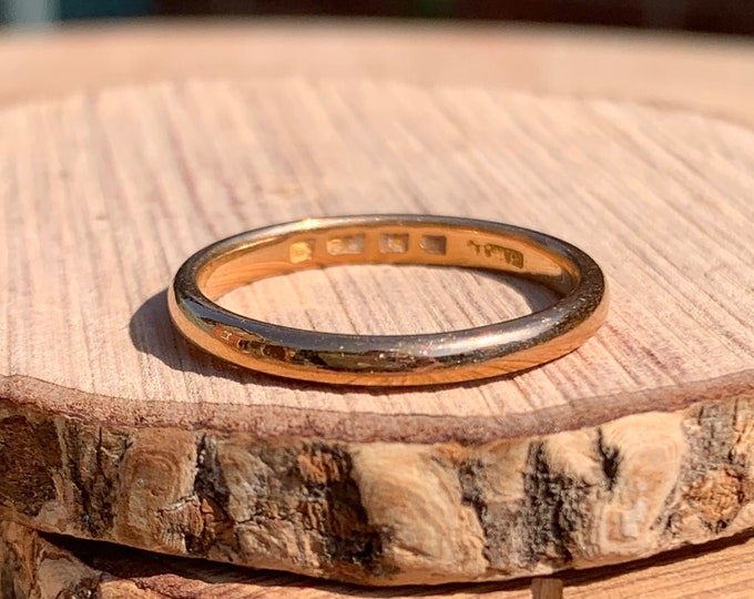 22K Gold ring, Art Deco 22K yellow gold wedding band, dates to 1925