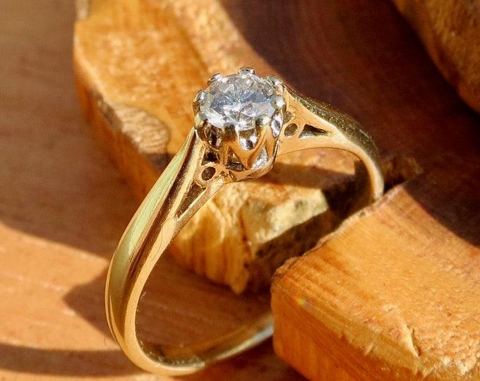 1/5 Carat diamond solitaire 9k yellow gold ring.