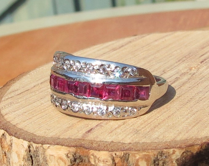 Gold ruby ring. 18K white gold ring with 1/2 Carat of square cut rubies & white topaz accents. FREE RESIZING
