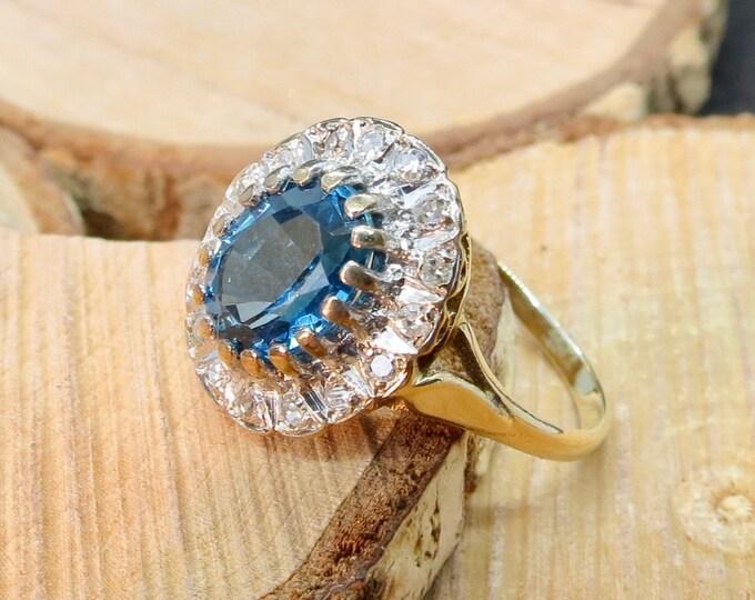 Vintage 9k yellow gold 1.2 carat London blue topaz and diamond ring
