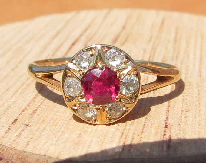 Gold ruby ring. Vintage 18K yellow and white gold 1/3 carat ruby and diamond ring.