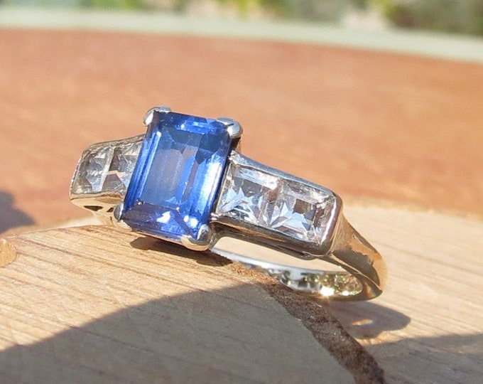 Gold sapphire ring. 9k gold and silver, blue and white lab-created stone ring.