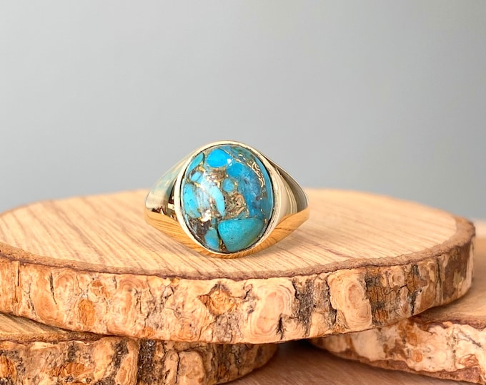 Reserved for Steve,   Gold turquoise ring, 9K yellow gold copper turquoise cabochon signet ring.