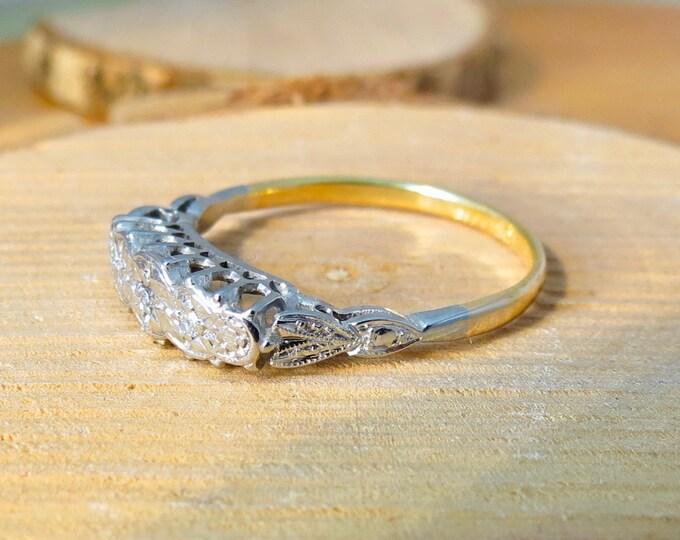 Art Deco 18k Yellow Gold and Platinum graduating five diamond ring