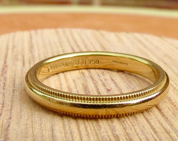 Tiffany Gold ring, 18K Tiffany & Co, yellow gold band. Wedding ring.