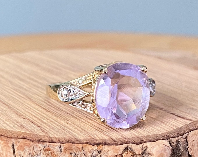 Gold amethyst diamond ring, a 3.5 carat oval faceted amethyst 10K gold ring