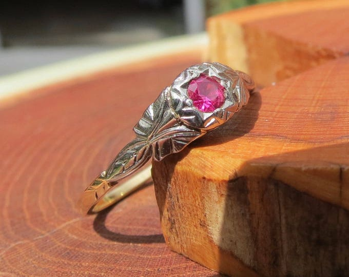 18K yellow gold & platinum natural pinky red ruby ring, Art Deco 1920