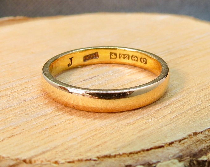 Art Deco wedding ring 22k yellow gold band made in 1928