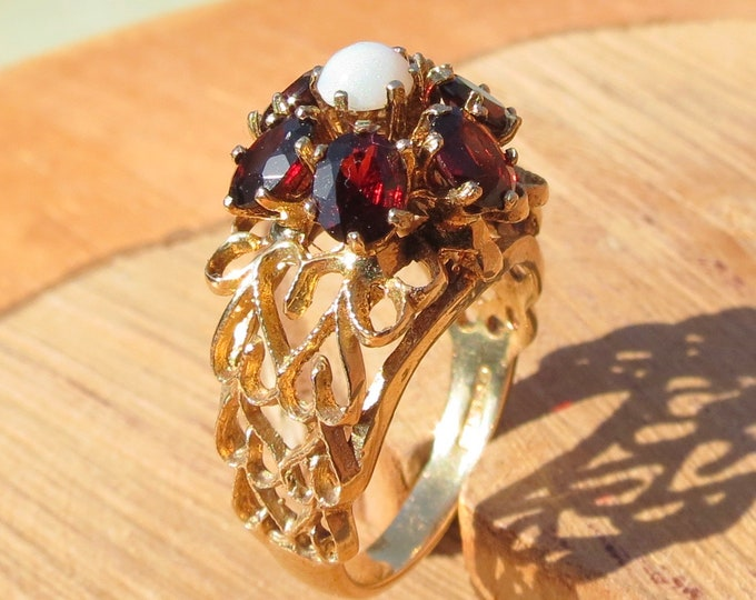 Gold opal ring. BIG vintage ornate tall yellow gold red garnet and opal ring, hallmarked 1974