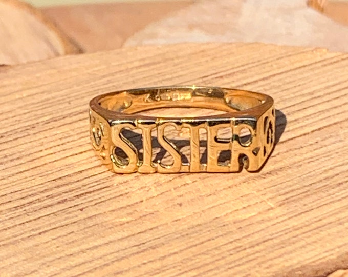 Gold Sister ring, 9K decorated filigree band.