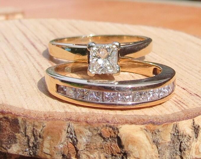 Gold diamond rings. A set of 14k yellow gold princess cut diamond rings, a total of 1.5 Carat white diamonds.