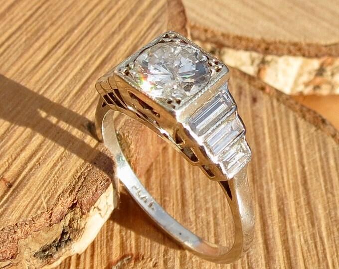 Platinum diamond ring. Genuine Art-Deco platinum diamond 2ct ring. King stone 1ct Swiss cut diamond. 1920-1935.