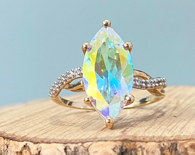 Gold mystical-topaz ring. Large 10K yellow gold marquise cut 4 carat mystical topaz ring