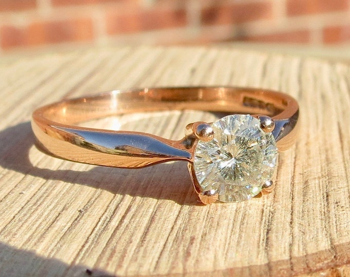 1ct diamond solitaire ring in 9K rose gold