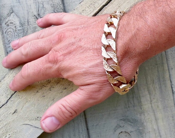 Mens Gold bracelet heavy wide curb link, 10 1/2 inch solid 9K yellow.