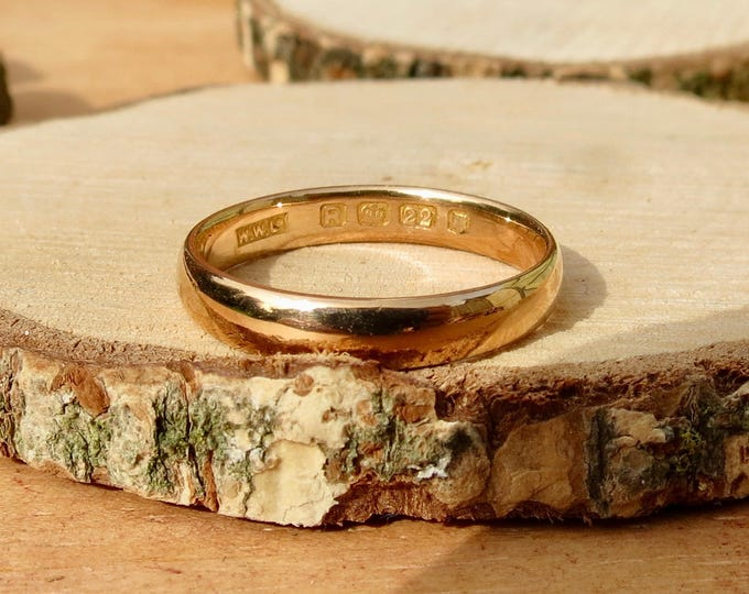 Wedding ring 22k yellow gold vintage ring made in 1952