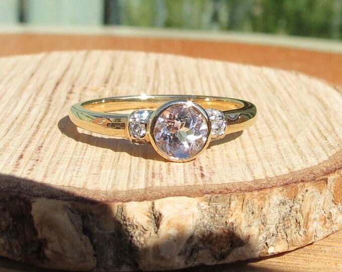 Gold morganite ring. 14K yellow gold 3/4 carat pink morganite and diamond ring.