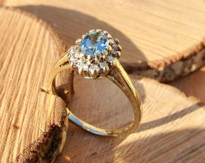 Vintage 9k yellow gold 2/3 carat aquamarine and diamond ring