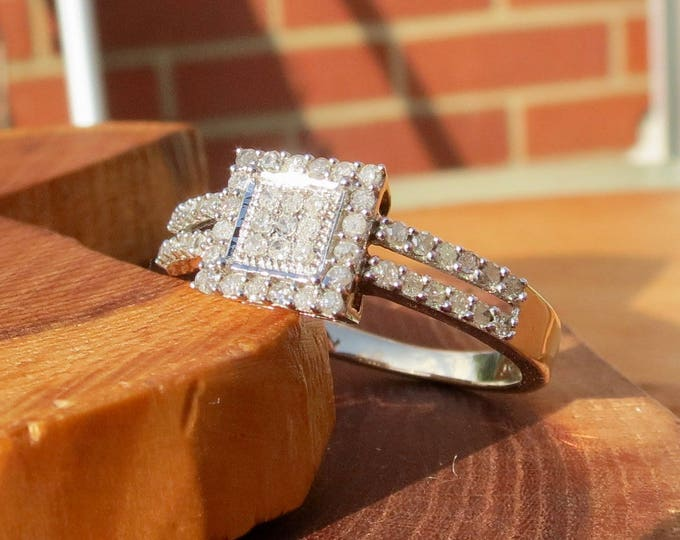 1 carat vintage 9k yellow gold diamond cluster ring.
