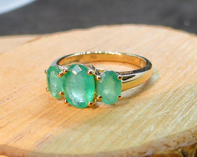 9k yellow gold 2 Carat natural emerald trilogy ring