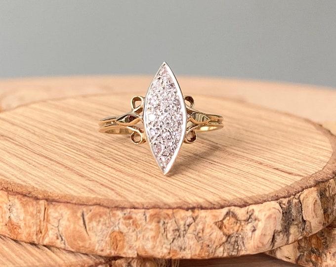 Gold diamond ring. Vintage 9K yellow gold marquise art deco style diamond ring.