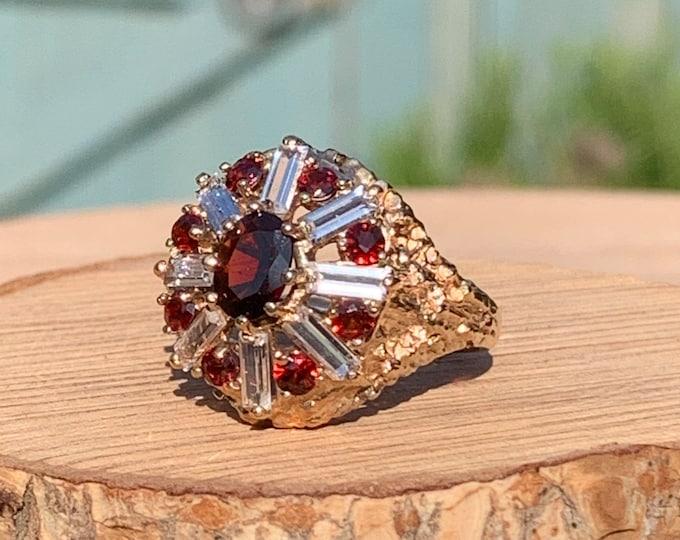 Gold garnet ring. Vintage ornate yellow gold red garnet and white topaz ring.