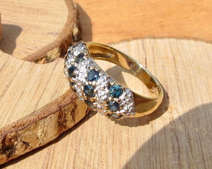 9k yellow gold diamond and sapphire ring