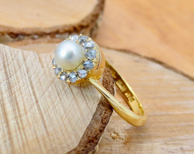 Gold pearl ring. Antique 18k yellow gold, natural pearl and rose cut diamond ring. c1908