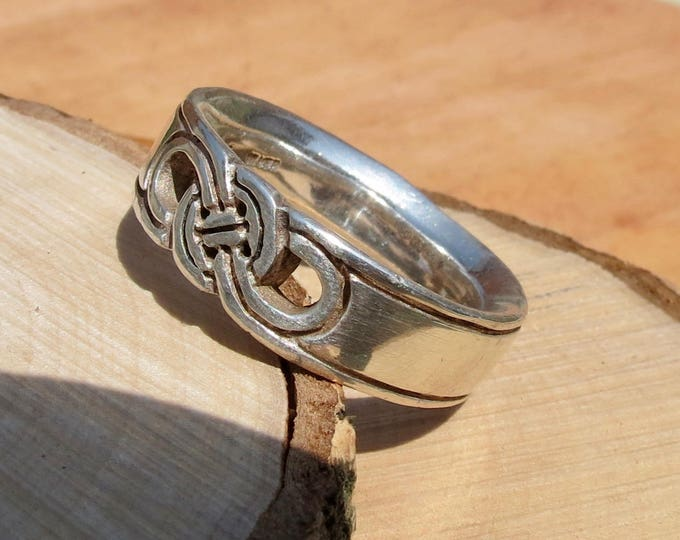 A vintage silver ring with Celtic design.