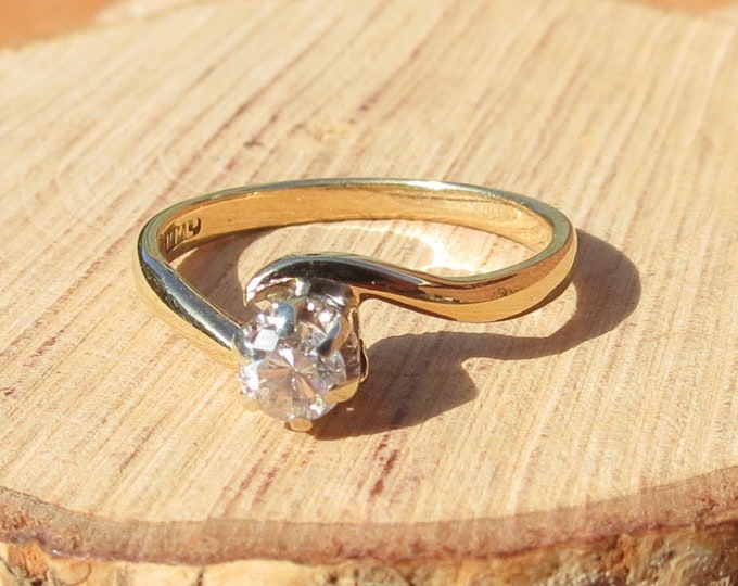 Gold diamond ring, 1/4 carat petite 9k yellow gold ring with brilliant cut diamond solitaire set in a claw and crown setting