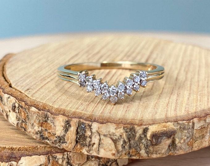 Gold diamond wishbone ring, large size 9K yellow hallmarked gold
