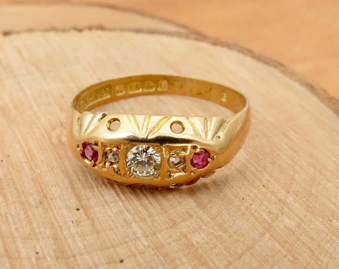 Antique 18K yellow gold 'old European Swiss cut' diamond and ruby ring, petite. Dates 1919.