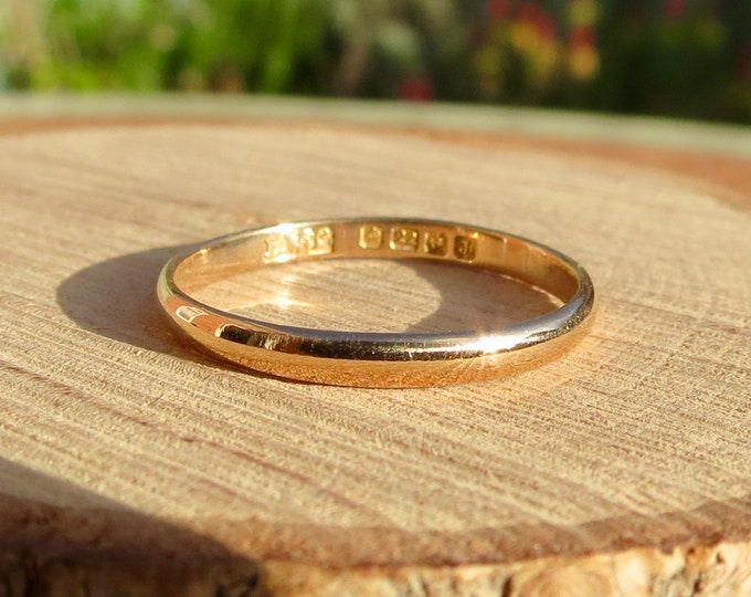 Gold wedding ring, 22k Art Deco yellow gold vintage ring made in 1933