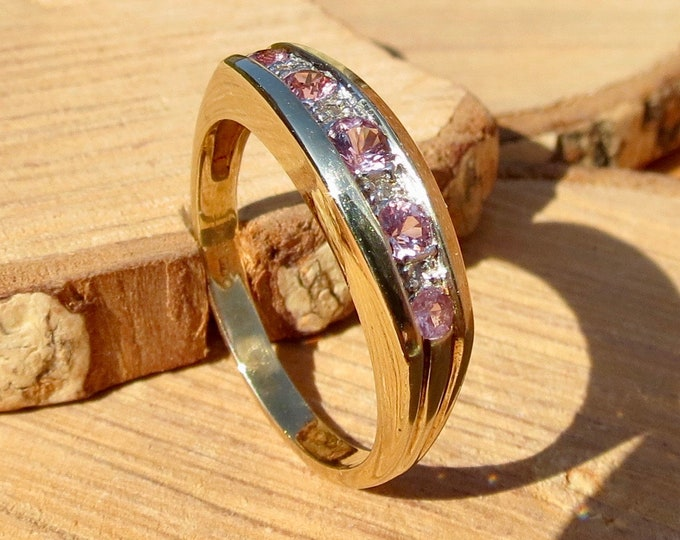 9k yellow gold pink tourmaline and diamond ring