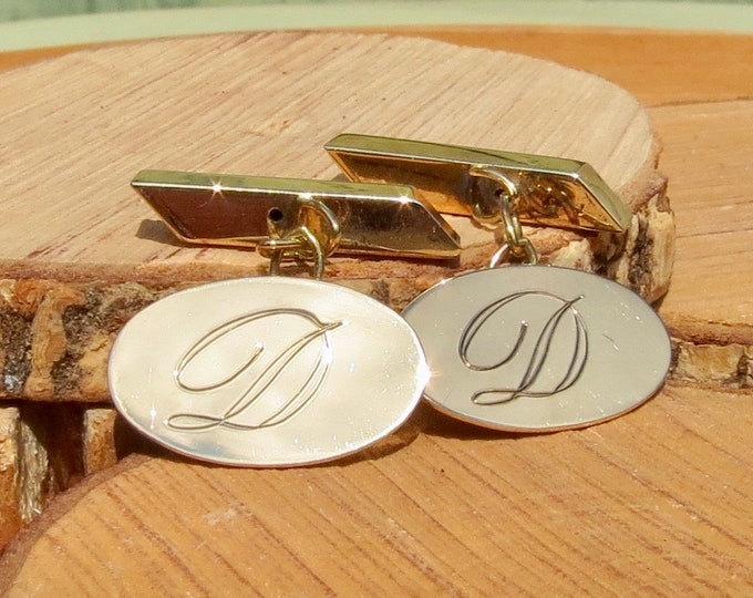Gold engraved cufflinks, 9k hallmarked vintage from the year 1972