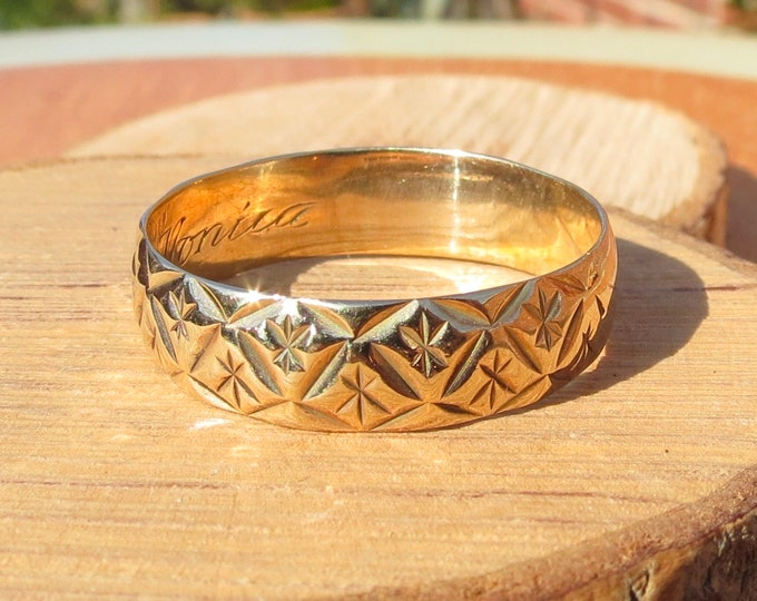 Gold wedding ring, huge vintage 9K wide yellow gold decorated ring engraved  'Monica' within the band, 1970's hallmark