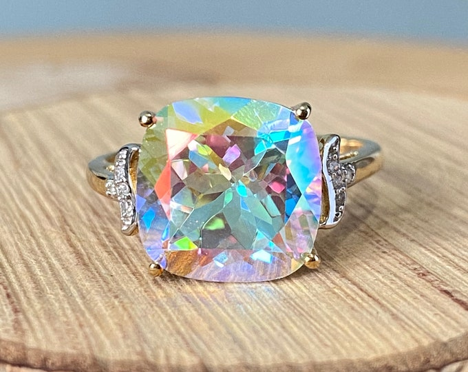 Gold mystical-topaz ring. Large 10K yellow gold square cut 4 carat mystical topaz ring