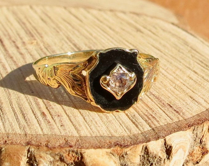 Antique 18K yellow gold black onyx and old mine cut diamond signet ring dating to the mid 1800's