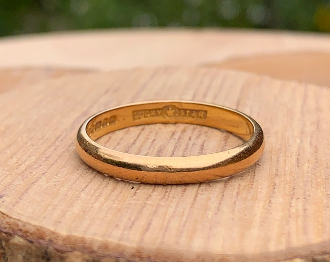 22K Gold ring, 'Lucky star'  vintage 22K yellow gold band, dates to 1957