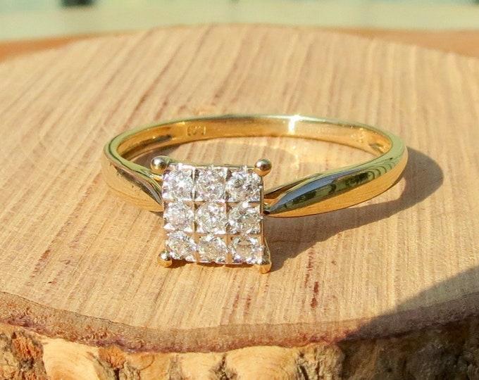 Gold diamond ring, 1/5 carat 9k yellow gold diamond cluster ring.