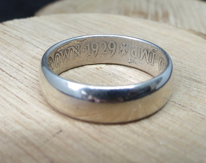 English silver ring,  Art deco coin ring from 1929 half crown.