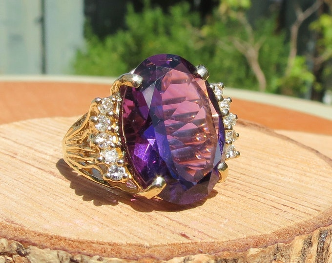 Gold amethyst diamond ring, a huge 15 carat oval faceted amethyst 14K gold ring