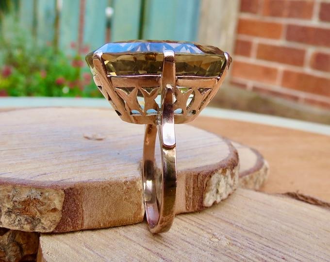 Gold smoky quartz ring, huge 34 carat, vintage 10k rose gold.