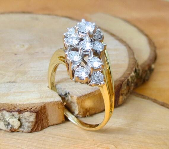A BIG 14k yellow gold 3 Carat diamond cluster ring.