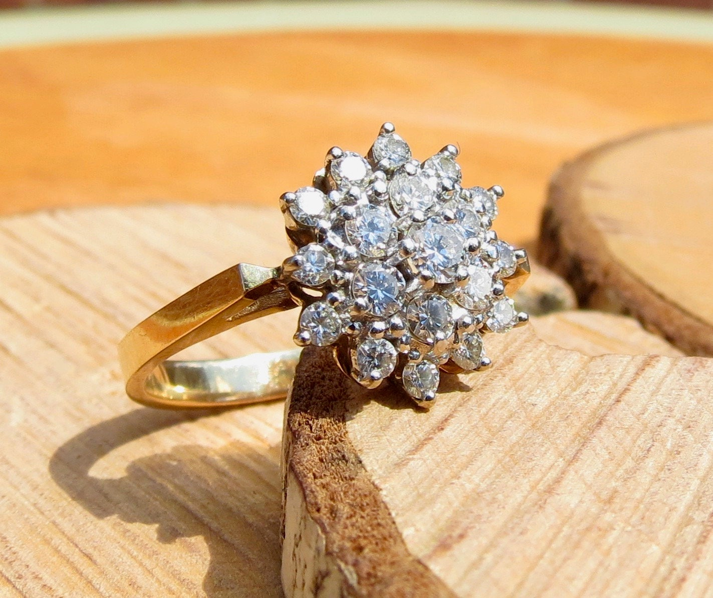 Gold diamond ring A 14k yellow gold 1.35 ct diamond star cluster ring. SOLD to Andrea Layaway 5